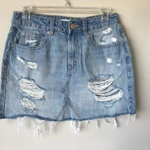 GARAGE DISTRESSED LIGHT WASH DENIM SKIRT